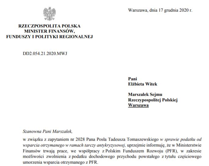 Subwencje PFR odpowiedź MF na pytanie z dnia 17 grudnia 2020 r.