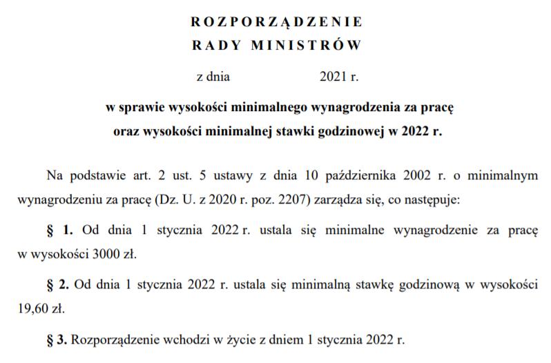Minimalne wynagrodzenie 2022