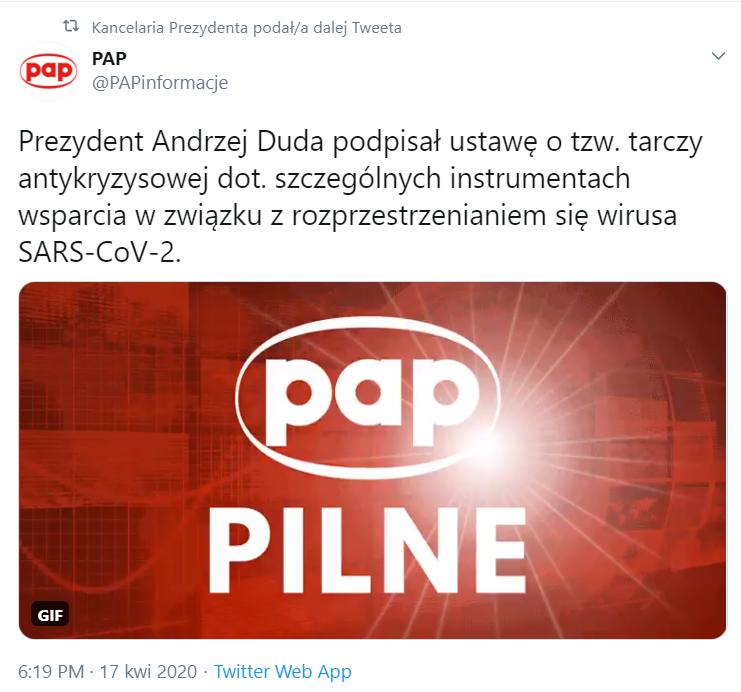 Prezydent podpisał ustawę Tarczę 2.0