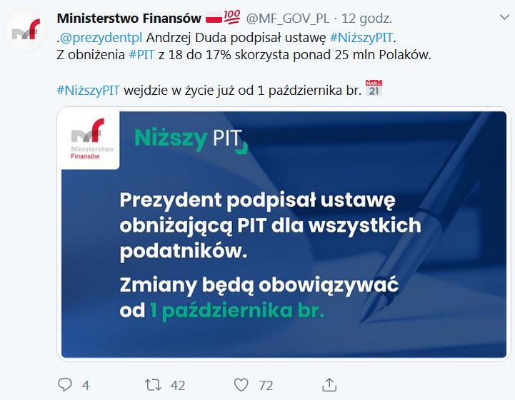 PAD podpisał ustawę o niższym PIT 17 proc. od 1 października 2019
