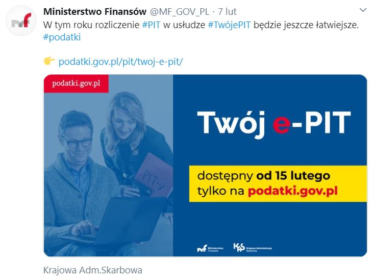 Twój e-PIT już 15 lutego 2020 roku o północy