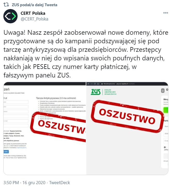 Fałszywa domena ZUS. Próba oszustwa