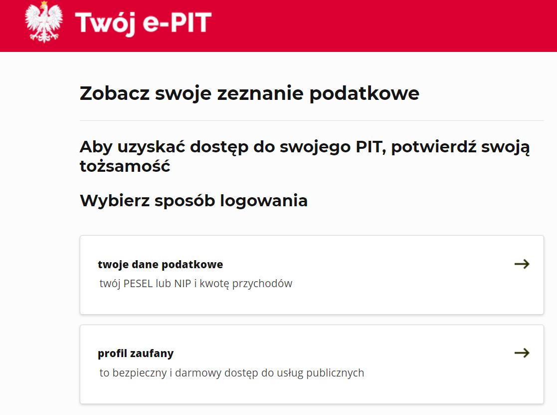 Twój e-PIT: logowanie
