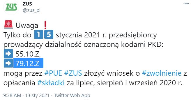 Zwolnienie z ZUS 2021