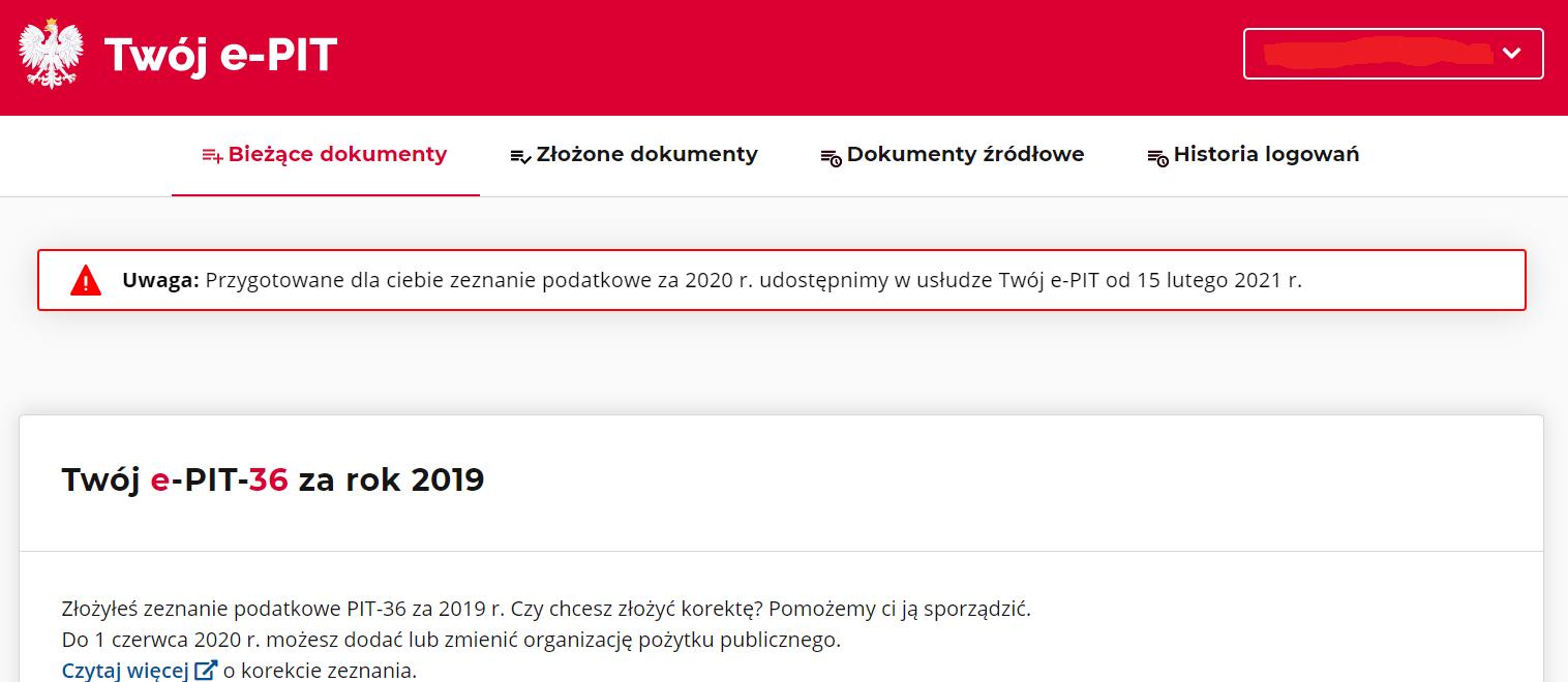 PIT 2020 od 15 lutego w e-Urząd Skarbowy