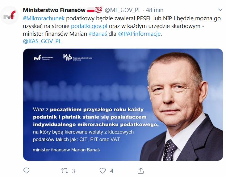indywidaulny numer mikrorachunku podatkowego w 2020 minister finansów Marian Banaś