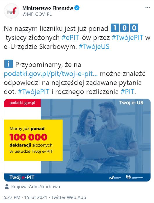 100 tys. PIT-ów w Twój e-PIT w pierwszy dzień