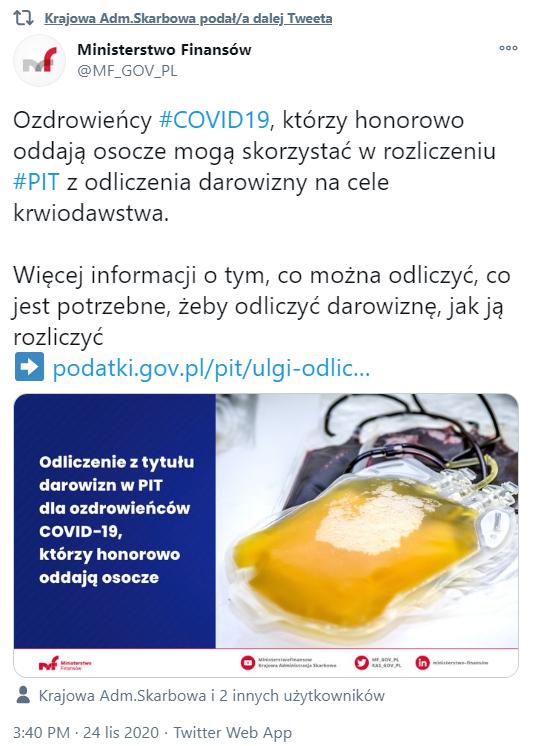 MF i KAS potwierdzają ulgę podatkową darowizna osocza przez ozdrowieńców Covid-19