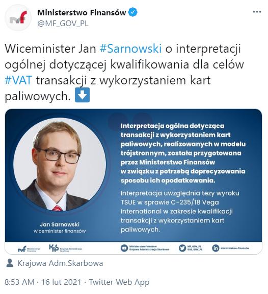 wiceminister finansów Jan Sarnowski Transakcje z wykorzystaniem kart paliwowych dla celów VAT - interpretacja ogólna MF