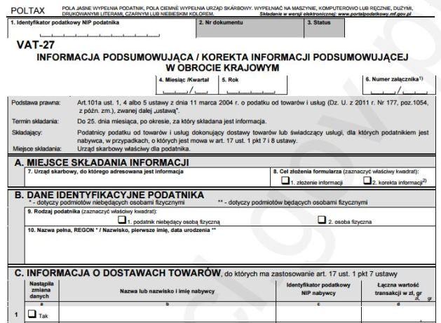 VAT-27 nowy wzór informacji podsumowującej w obrocie krajowym