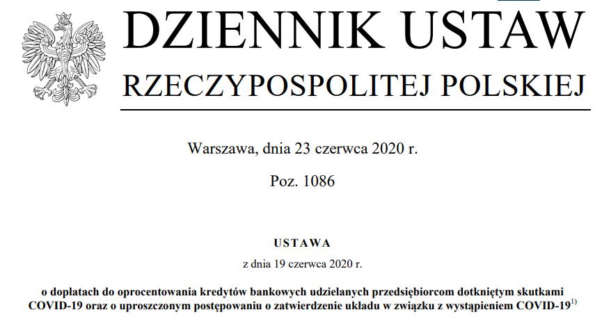 treść ustawy tarcza 4.0 tekst z Dziennika Ustaw