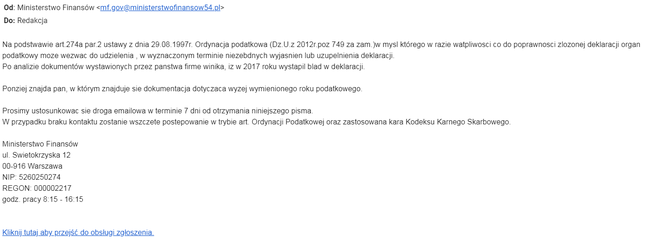 mail od oszustów phishing Wezwanie do złożenia wyjaśnienia