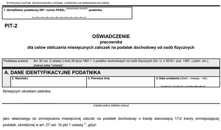 oświadczenie pracownika PIT-2