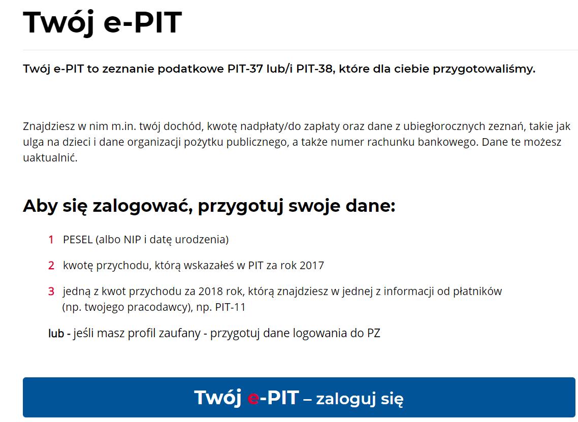 strona logowania do usłigi Twój e-PIT