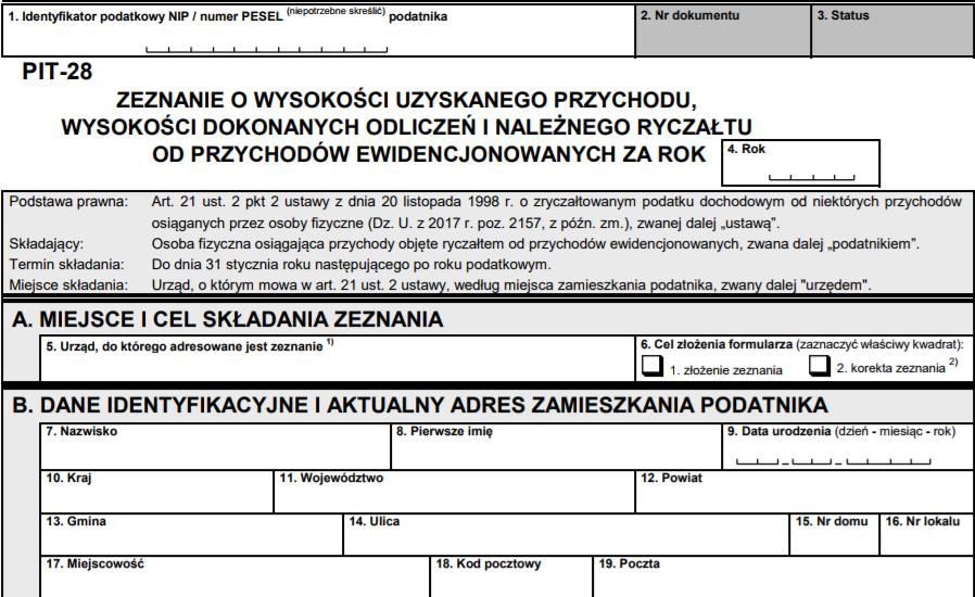 PIT-28 Zeznanie o wysokości uzyskanego przychodu, wysokości dokonanych odliczeń i należnego ryczałtu od przychodów ewidencjonowanych