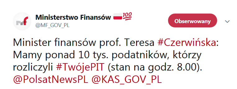 tweet MF 10 tys. podatników skorzystało z usługi Twój e-PIT i zdążyło rozliczyć/zaakceptować rozliczenie roczne przygotowane przez system KAS.
