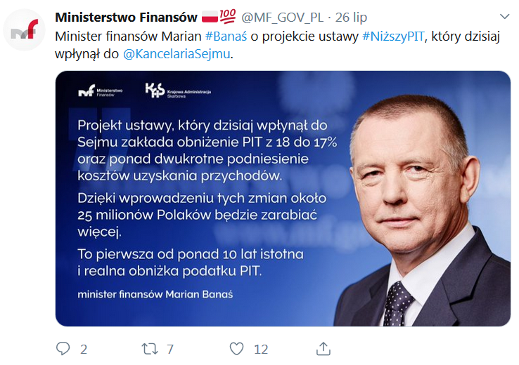 Marian Banaś minister finansów o obniżce stawki PIT z 18 do 17 proc.