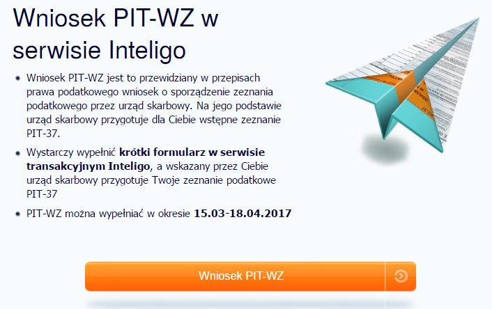 PIT-WZ przy logowaniu na konto bankowe