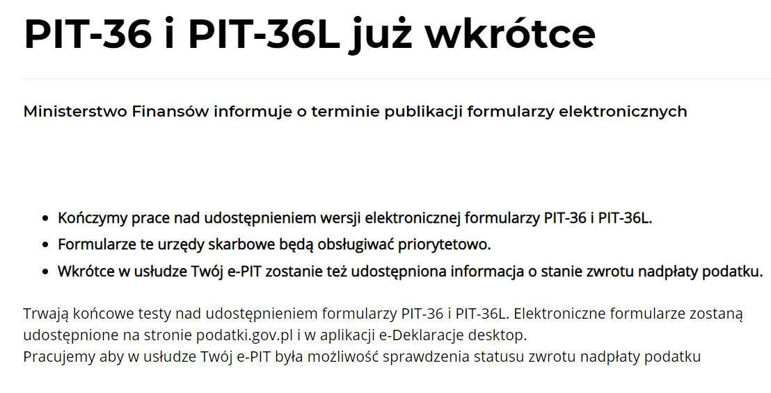 komunikat MF PIT-36 dostępny wkrótce