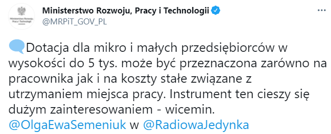 Dotacja 5000 zł z Tarczy