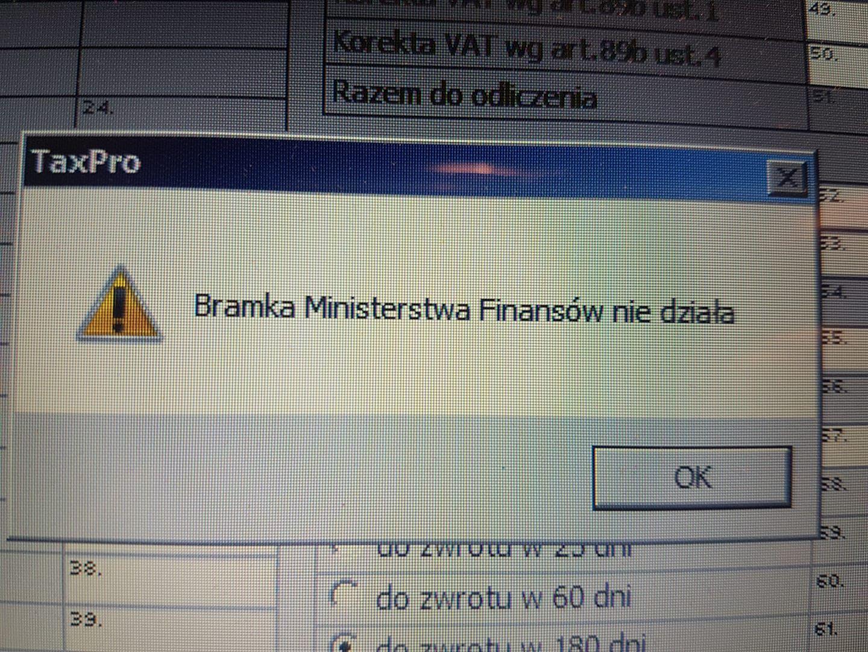 błąd komunikacji bramka e-deklaracje MF