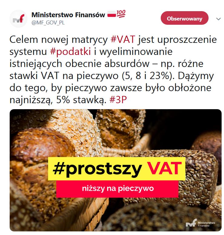 najniższa stawka VAT na pieczywo