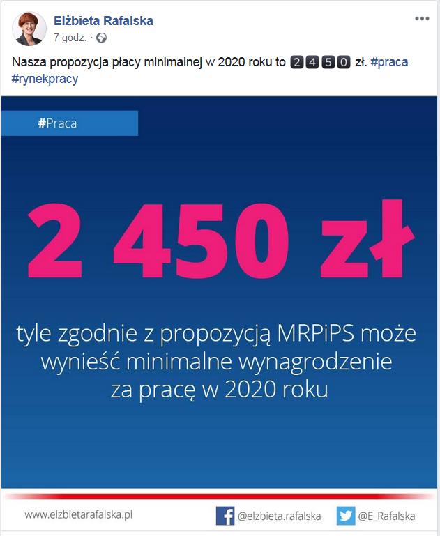 facebook minister Elżbieta Rafalska propozycja płacy minimalnej w 2020 roku