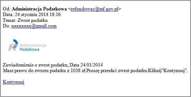 Ministerstwo Finansów informuje o fałszywych e-mailach wysyłanych z logiem Administracji podatkowej