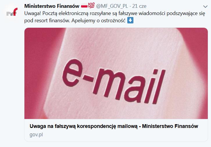 ostrzeżenie MF przed fałszywymi mailami