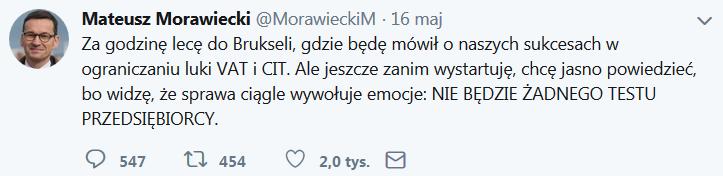 Premier Morawiecki potwierdza - nie będzie testu przedsiębiorcy