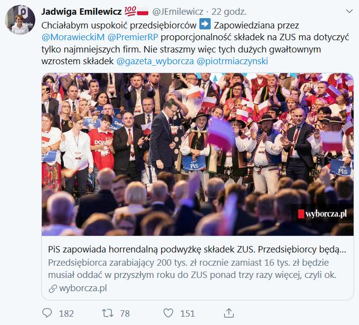 Minister Emilewicz uspokaja - składki ZUS nie wzrosną
