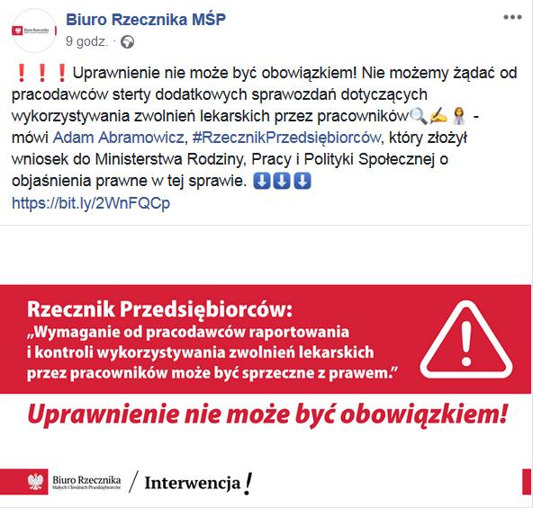 post rzecznika MŚP na FB dotyczący raportowania przez pracodawcę wyników kontroli zwolnień lekarskich pracowników do ZUS