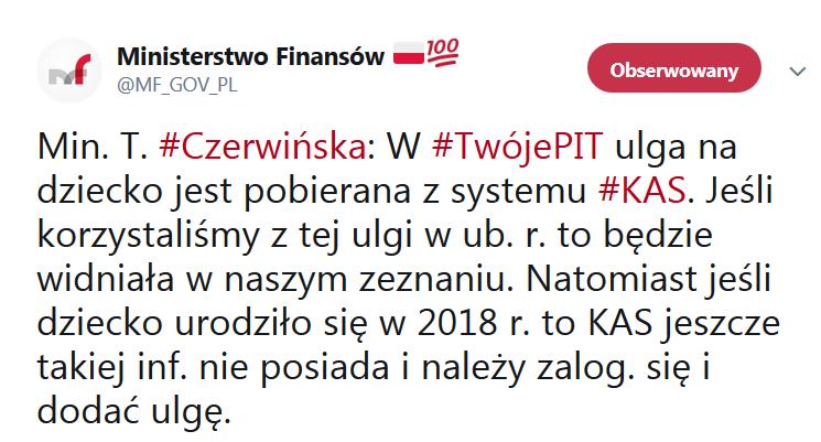 tweet MF ulga na dzieci urodzone w 2018 roku w usłudze Twój e-PIT