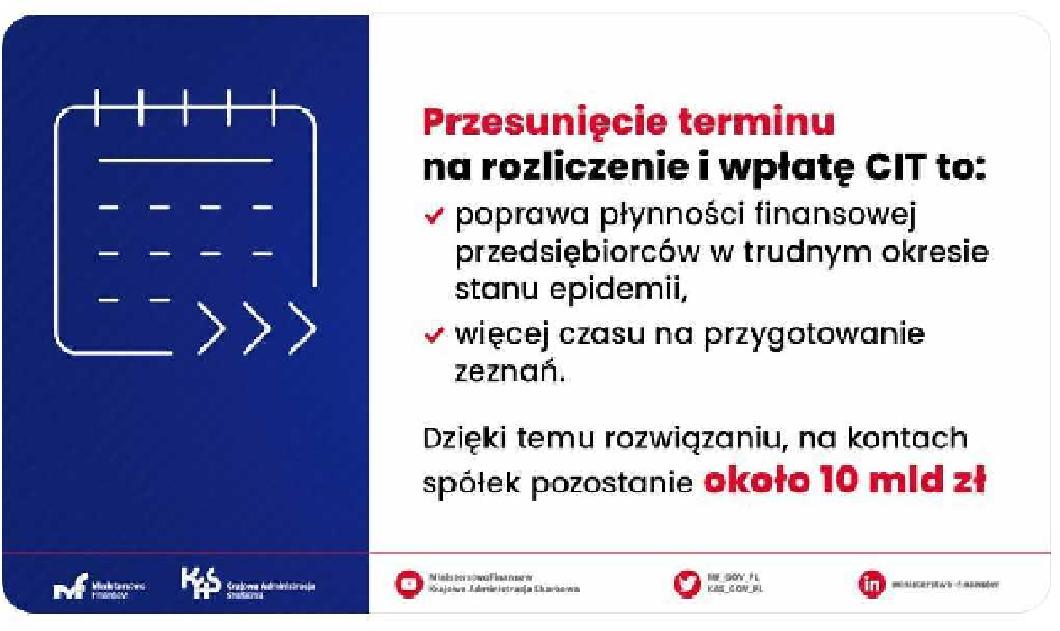 przesunięcie zapłaty CIT za 2020 r.