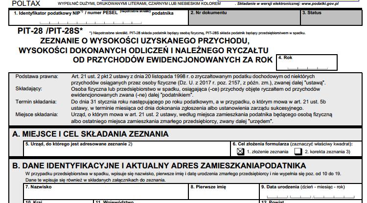 PIT-28 / PIT-28S (21) Zeznanie o wysokości uzyskanego przychodu, wysokości dokonanych odliczeń i należnego ryczałtu od przychodów ewidencjonowanych